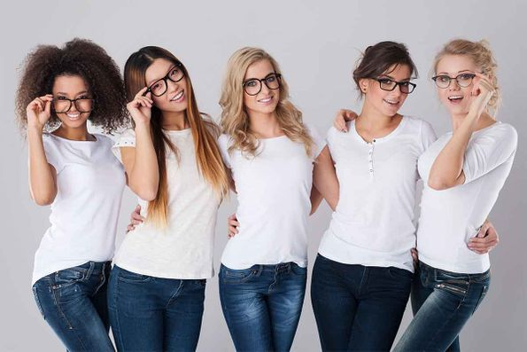 group of girls with glasses